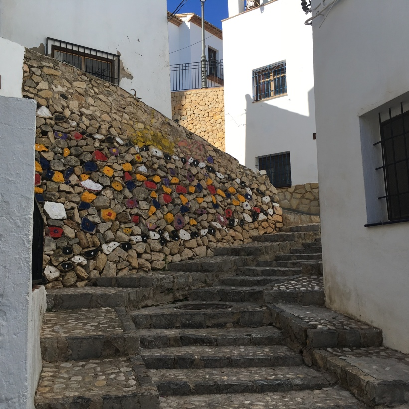 Lots of cobbled steps lead to this colourful mural